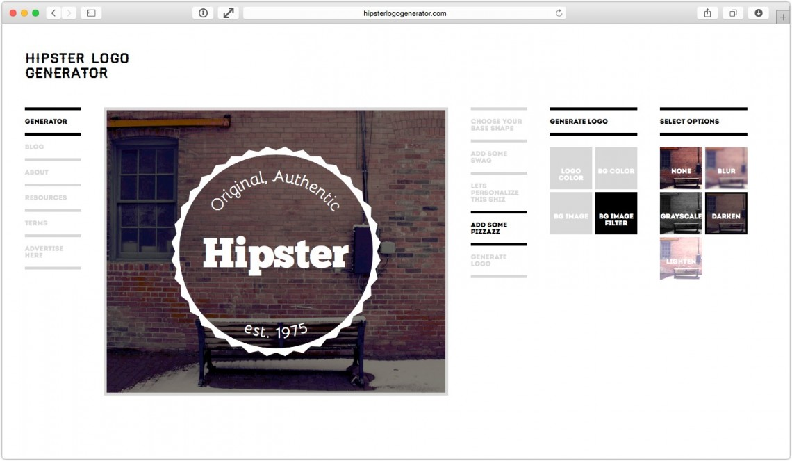 Hipster logo generator created by elijah zapien mwender for Hipster logo generator
