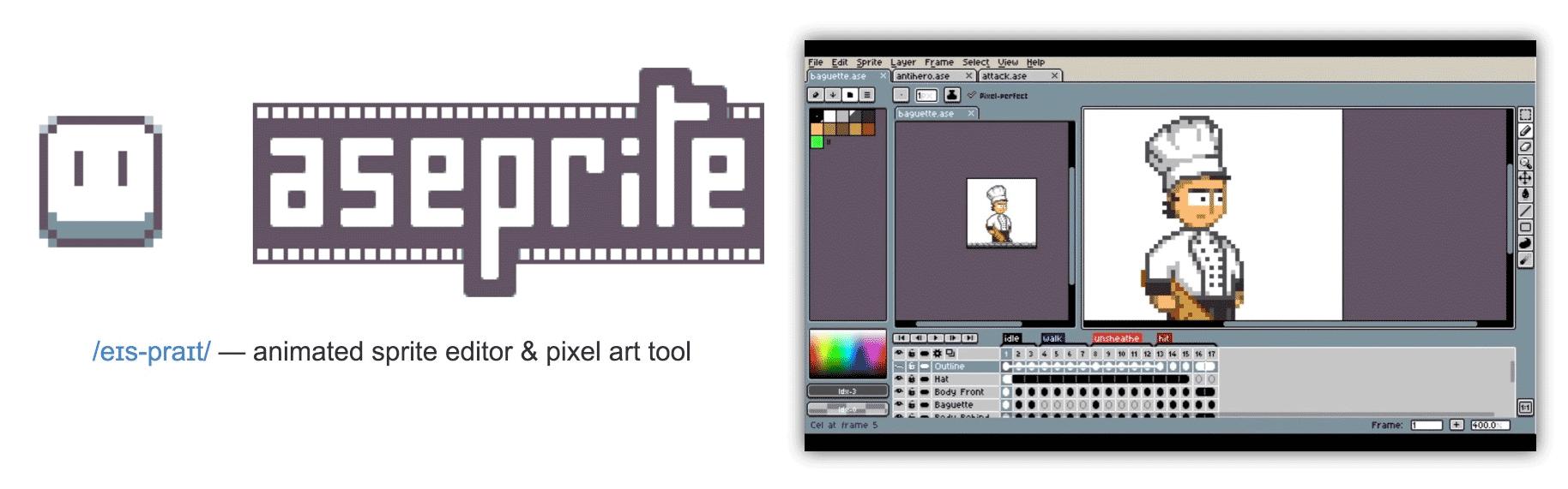 Aseprite - Animated sprite editor & pixel art tool - @mwender